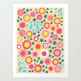 Crowded Colourful Flowers Art Print