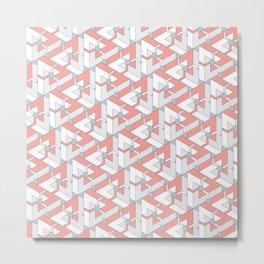 Triangle Optical Illusion Coral Medium Metal Print