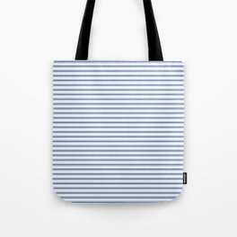 Mattress Ticking Narrow Horizontal Stripe in Dark Blue and White Tote Bag
