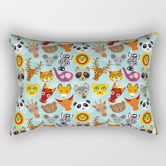 pattern with funny cute animal face on a blue background Rectangular Pillow