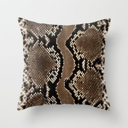 Python Skin Pattern Snake Skin Brown Animal Print Home Decor Throw Pillow
