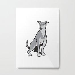 Husky Shar Pei Cross Dog Sitting Cartoon Metal Print