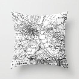 Vintage Paris Map Throw Pillow