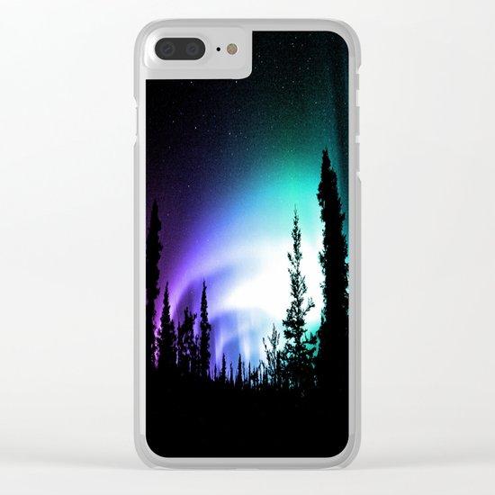 Aurora Borealis Forest Clear iPhone Case