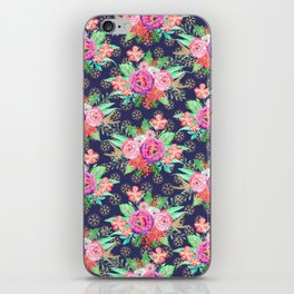 Pretty Christmas floral and snowflakes design iPhone Skin