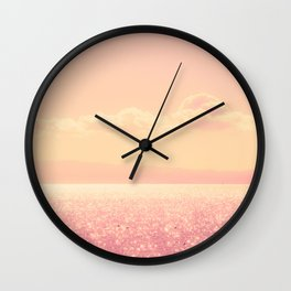 Dreamy Champagne Pink Sparkling Ocean Wall Clock