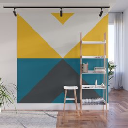 Split X Teal & Yellow Wall Mural
