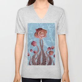 Octopus Tentacles and Roses in Water Surreal Print Unisex V-Neck