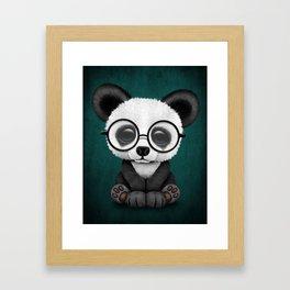Cute Panda Bear Cub with Eye Glasses on Teal Blue Framed Art Print