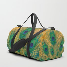 """Turquoise and golden peacock"" Duffle Bag"