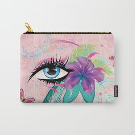 Blue eye with long eyelashes, flowers, musical notes and butterflies Carry-All Pouch