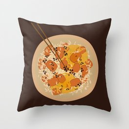 Food Illustration: Rice with beef and curry with soysauce Throw Pillow