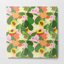Avocado + Peach Stone Fruit Floral in Nectarine Metal Print