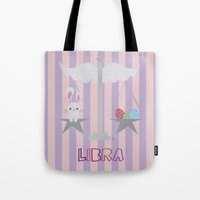 libra Tote Bags featuring Libra by Esther Ilustra