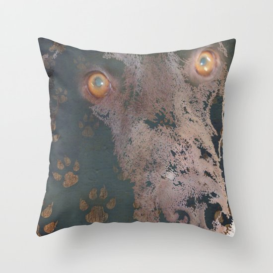 leaving his print Throw Pillow