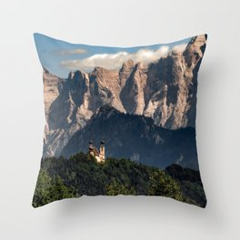 Austria mountains clouds church forest Steiermark Throw Pillow