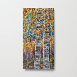 Colourful Autumn Aspen Trees Metal Print