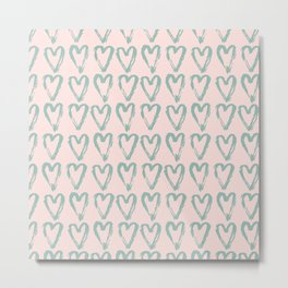 Love Heart Pattern-Mix & Match with Simplicty of life Metal Print