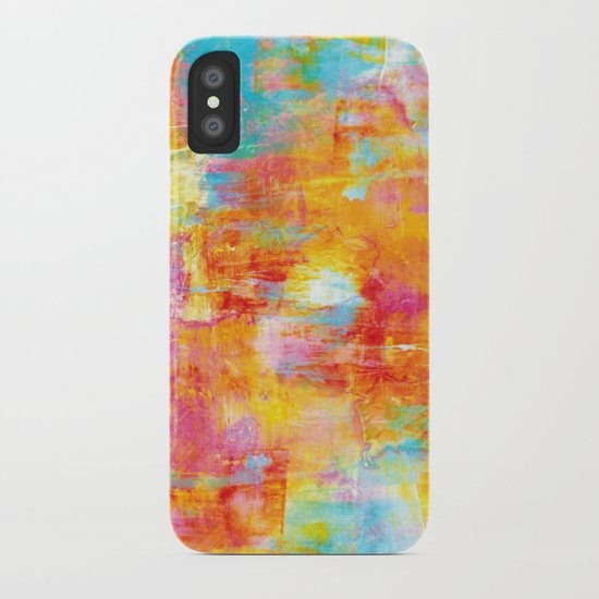OFF THE GRID Colorful Pastel Neon Abstract Watercolor Acrylic Textural Art Painting Nature Rainbow  iPhone Case