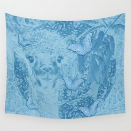 Ghostly alpaca with butterflies in snorkel blue Wall Tapestry