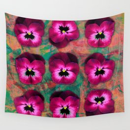 9 cerise on orange & emerald green Wall Tapestry