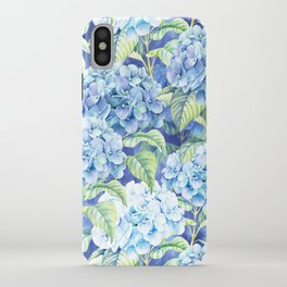 Botanical pink blue watercolor hortensia floral iPhone Case