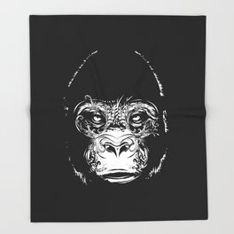 Head of a gorilla Throw Blanket