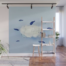 Whales around the cloud Wall Mural