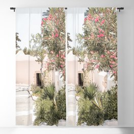 Greece Summer Scenery With Plants Photo | White Island Architecture Art Print | Europe Travel Photography Blackout Curtain