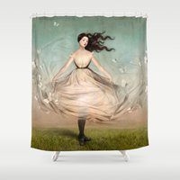dress Shower Curtains featuring Butterfly Dress by Christian Schloe