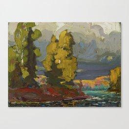 Tom Thomson Poplars by a Lake 1916 Canadian Landscape Artist Canvas Print