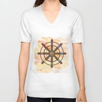 buddhism V-neck T-shirts featuring Buddhism Dharma Wheel by Rachael Amber