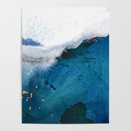 In the Surf: a vibrant minimal abstract painting in blues and gold Poster