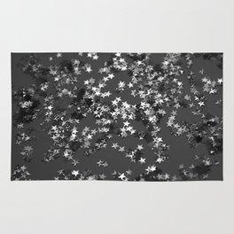 Gray Black Night Glitter Stars #1 #shiny #decor #art #society6 Rug