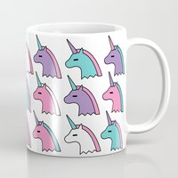 unicorns Mugs featuring candy unicorns by Neringa Katt