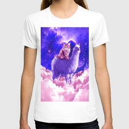 Outer Space Galaxy Kitty Cat Riding On Llama T-shirt