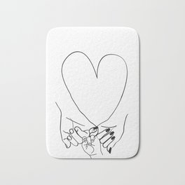 Parent Pinky Promise Family Line Art Mother Father Baby Bath Mat