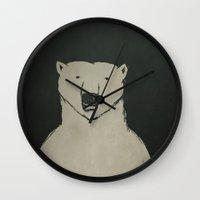 polar bear Wall Clocks featuring Polar Bear by Matt Edward