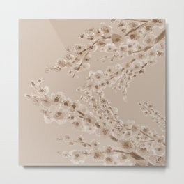 Cherry Blossom in Taupe Metal Print