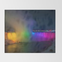 Rainbow Niagara Falls Waterfall (Color) Throw Blanket