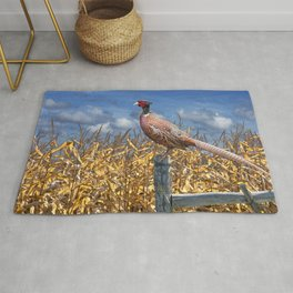 Ringneck Pheasant sitting on a fence post by a cornfield Rug
