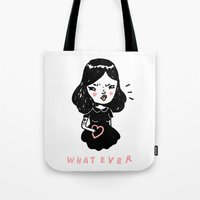 whatever Tote Bags featuring Whatever by Mel Stringer