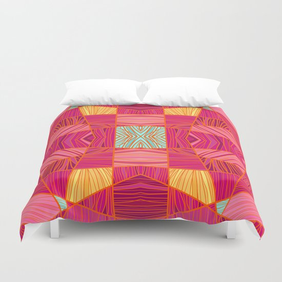 Happy Pink and Orange Pattern Duvet Cover