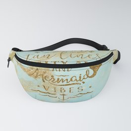 Beach - Mermaid - Mermaid Vibes - Gold glitter lettering on teal glittering background Fanny Pack