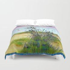 Plaid Beachscape with Seagrass Duvet Cover