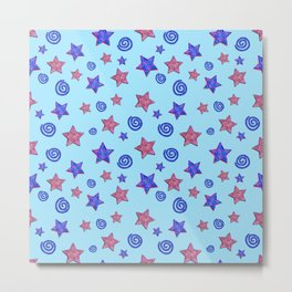 Colorful Stars and Spirals Metal Print