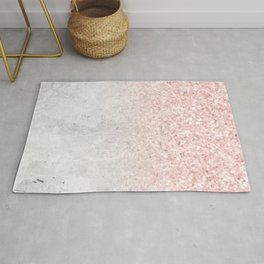 She Sparkles Rose Gold Pink Concrete Luxe Rug