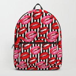 Lips Pattern - Stripes Backpack