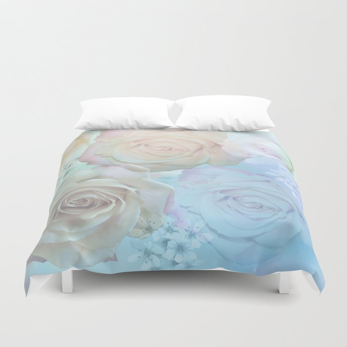 Romantic roses and tiny flowers in pastels Duvet Cover