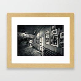 Gruene Hall (interior) - Oldest Dance Hall in Texas (Black & White) Framed Art Print